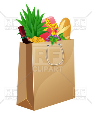 Paper Shopping Bag With Foods Download Royalty Free Vector Clipart