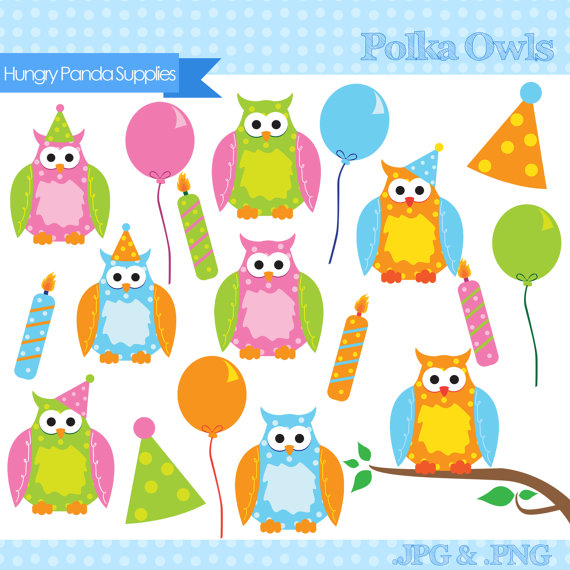 Polka Dot Party Owls Digital Clipart Commercial Use   Personal Use