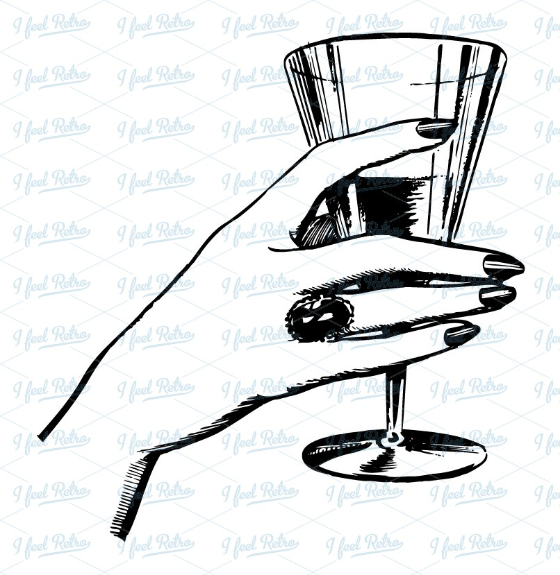Retro Clipart  Woman S Hand With A Drink   Authentic Vintage
