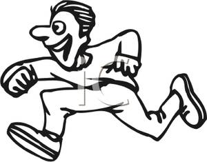Running Tiger Clipart Black And White A Black And White Silhoutte Man