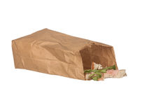 Sandwich Left Overs In Brown Paper Bag Isolated On White Stock Photo
