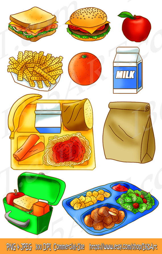 School Lunch Food Clipart Set Tray Brown Paper Bag Sandwich Apple