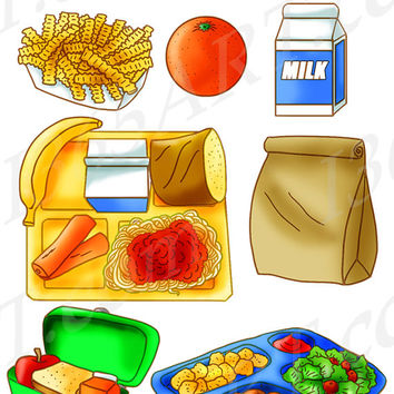 School Lunch Food Set Tray Brown Paper Bag Sandwich Apple Clipart