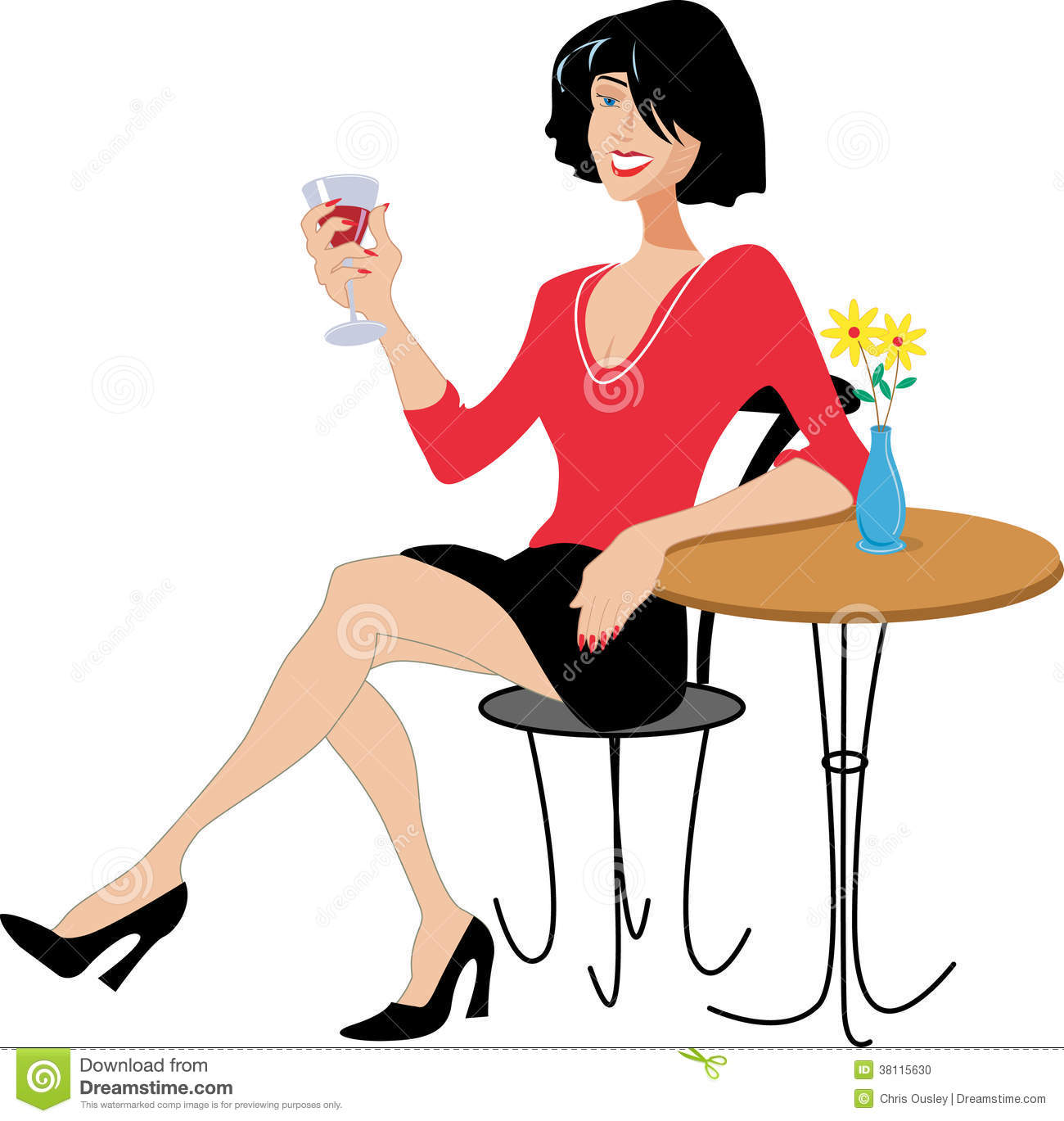 Smiling Pretty Lady Drinking Wine At A Table With Flower Vase  Red Top