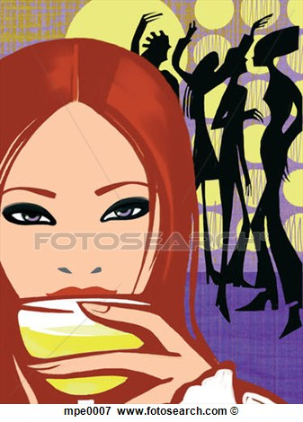 Woman Drinking A Glass Of Wine At A Party Mpe0007   Search Eps Clipart