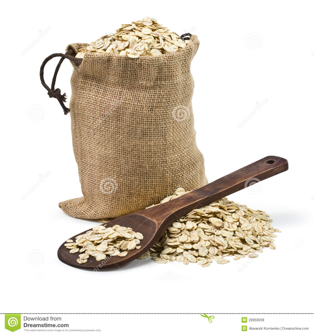 Bag Of Oats And A Wooden Spoon Royalty Free Stock Photos   Image