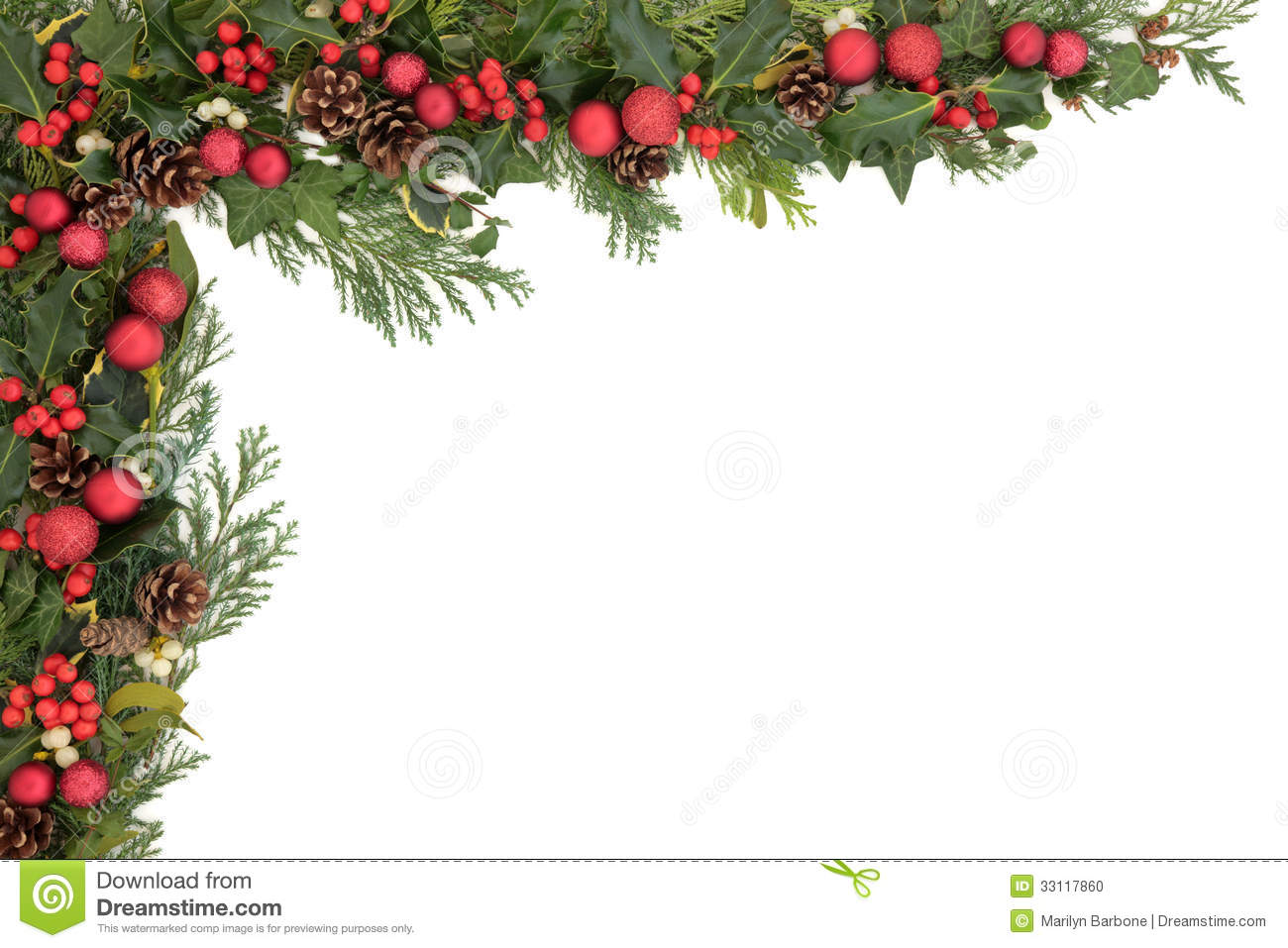 Christmas Background Border With Red Baubles Holly Mistletoe Ivy