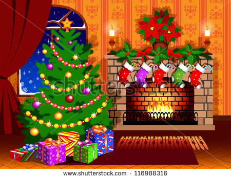 Christmas Tree And Fireplace Stocking Stock Photo 116988316