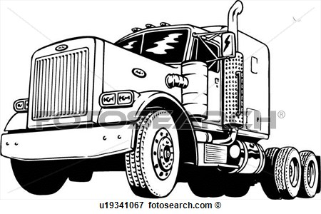 Clip Art Of Illustration Lineart Classic Peterbilt Truck U19341067