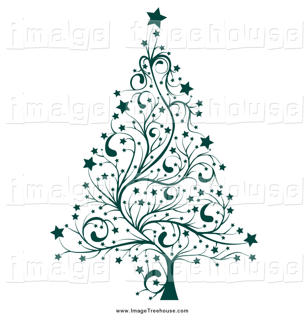 Clipart Of A Green Floral Christmas Tree By Milsiart    727