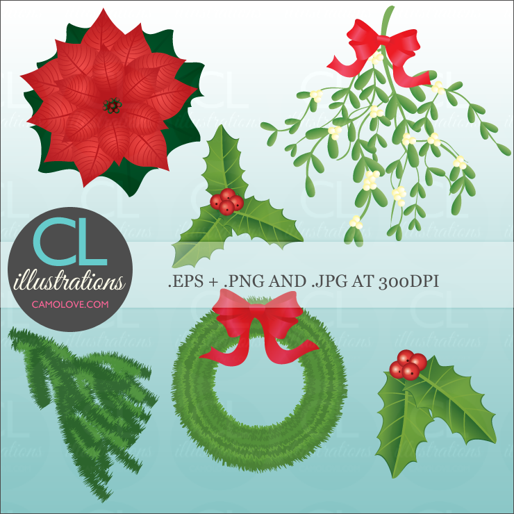 Clipart Sets   Seasonal   Winter And Christmas  Christmas Greens