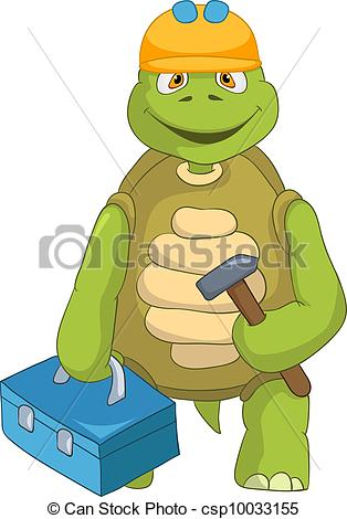 Clipart Vector Of Funny Turtle Contractor   Cartoon Character Funny