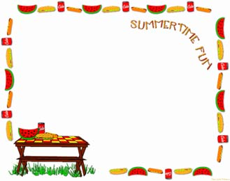 Free Scrapbook Pages 4th 0f July Parade Picnic Clipart Page Frame