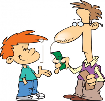 Giving Clipart Giving Money Clipartdad Giving His Son Allowance Clip