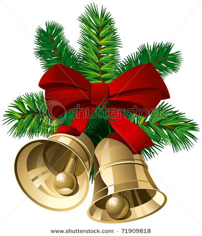 Gold Christmas Bells With Red Ribbon And Pine Twigs   Vector Clip Art
