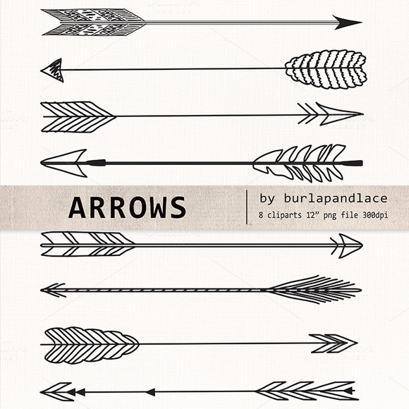 Hand Drawn Clipart Arrows   Illustrations On Creative Market