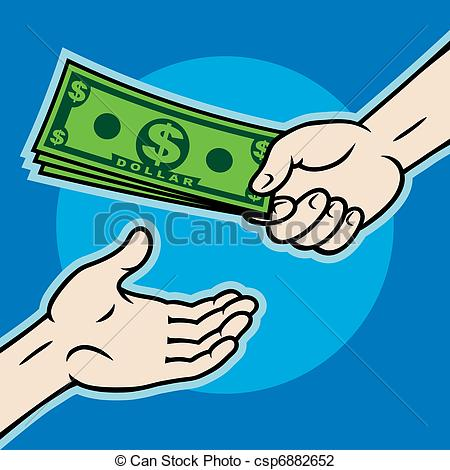 Man Giving Money Clipart Hand Giving Money To Other