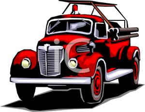 Red Antique Firetruck   Royalty Free Clipart Picture