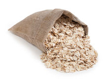 Rolled Oats In A Bag Isolated On White Background Royalty Free Stock