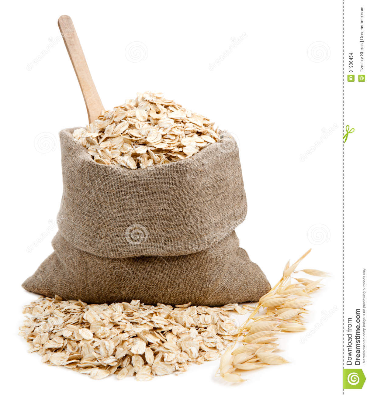 Rolled Oats In A Bag Isolated On White Stock Images   Image  31936454