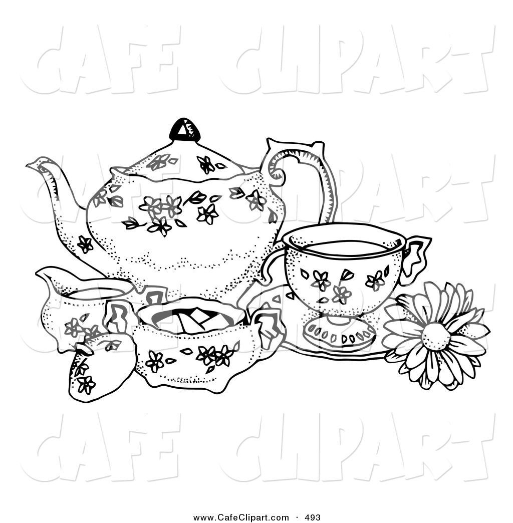 Royalty Free Fine China Stock Cafe Clipart Illustrations