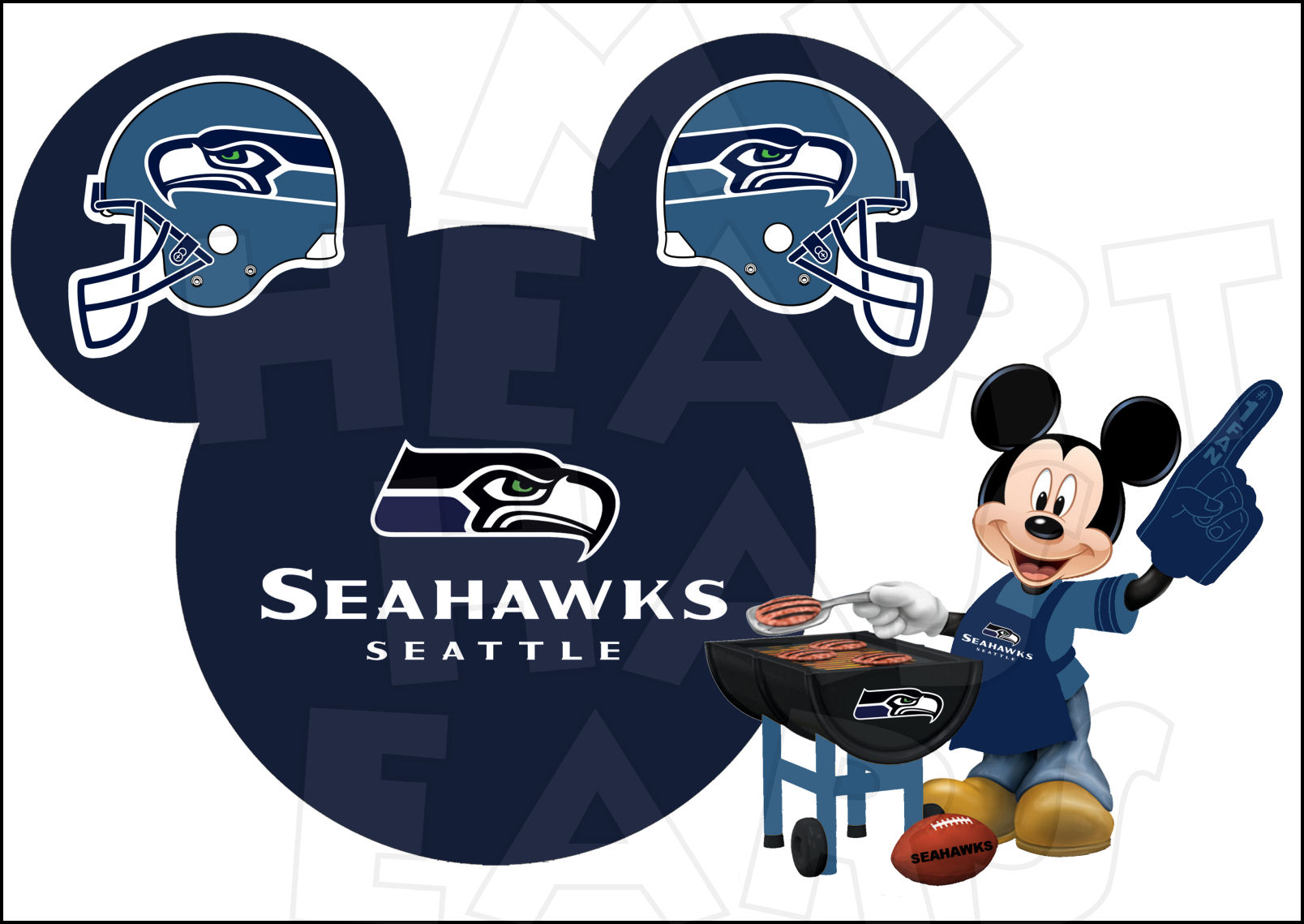 Seattle Seahawks Football With Mickey Mouse Instant Download Digital