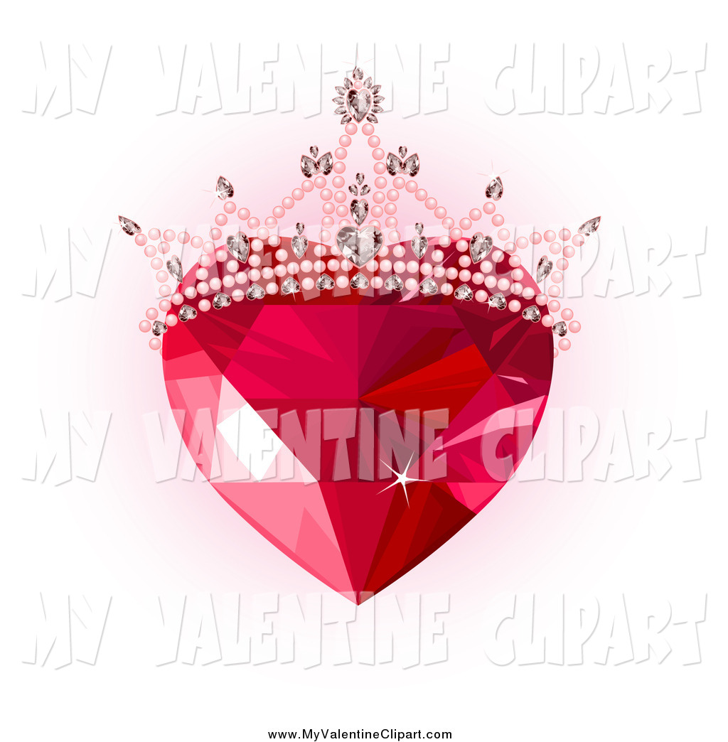 Valentine Clipart Of A Ruby Gem Heart With A Tiara Over Pink And White