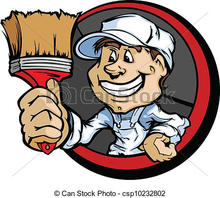 Vector Clipart Of Happy Painter Contractor With Paint Brush Cartoon