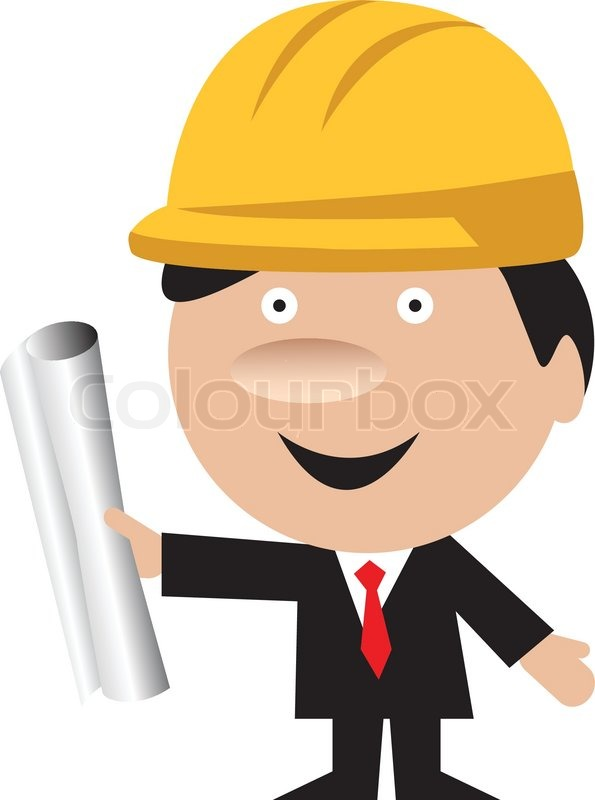 Vector Of  Funny Architect Or Constructor Contractor With Blueprint