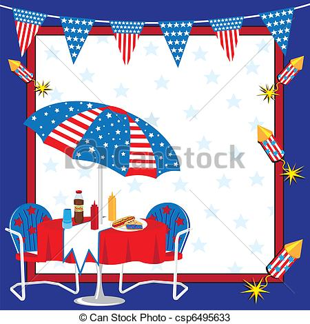 Vectors Of Patriotic Picnic Invitation   Invitation To A 4th Of July