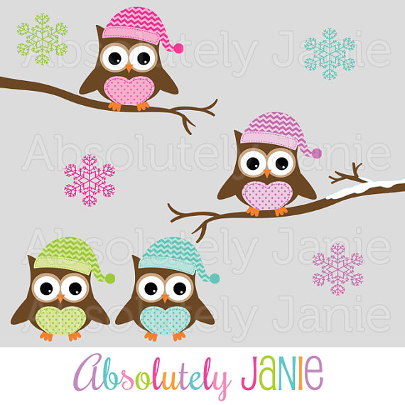 Winter Owls Clipart   Holiday Christmas Digital Clip Art   Colorful