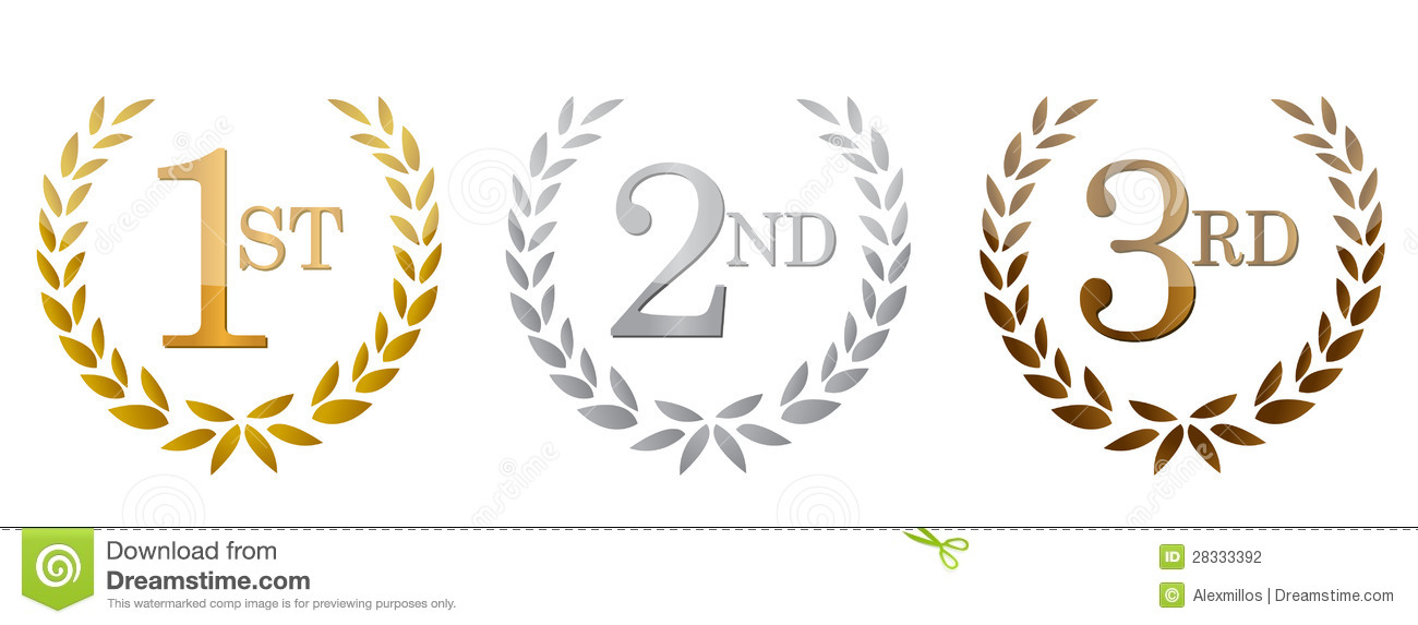 1st  2nd  3rd Awards Golden Emblems  Stock Photography   Image
