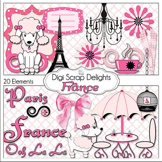 Black   French Poodles Paris  Digital Scrapbooking  Instant Download