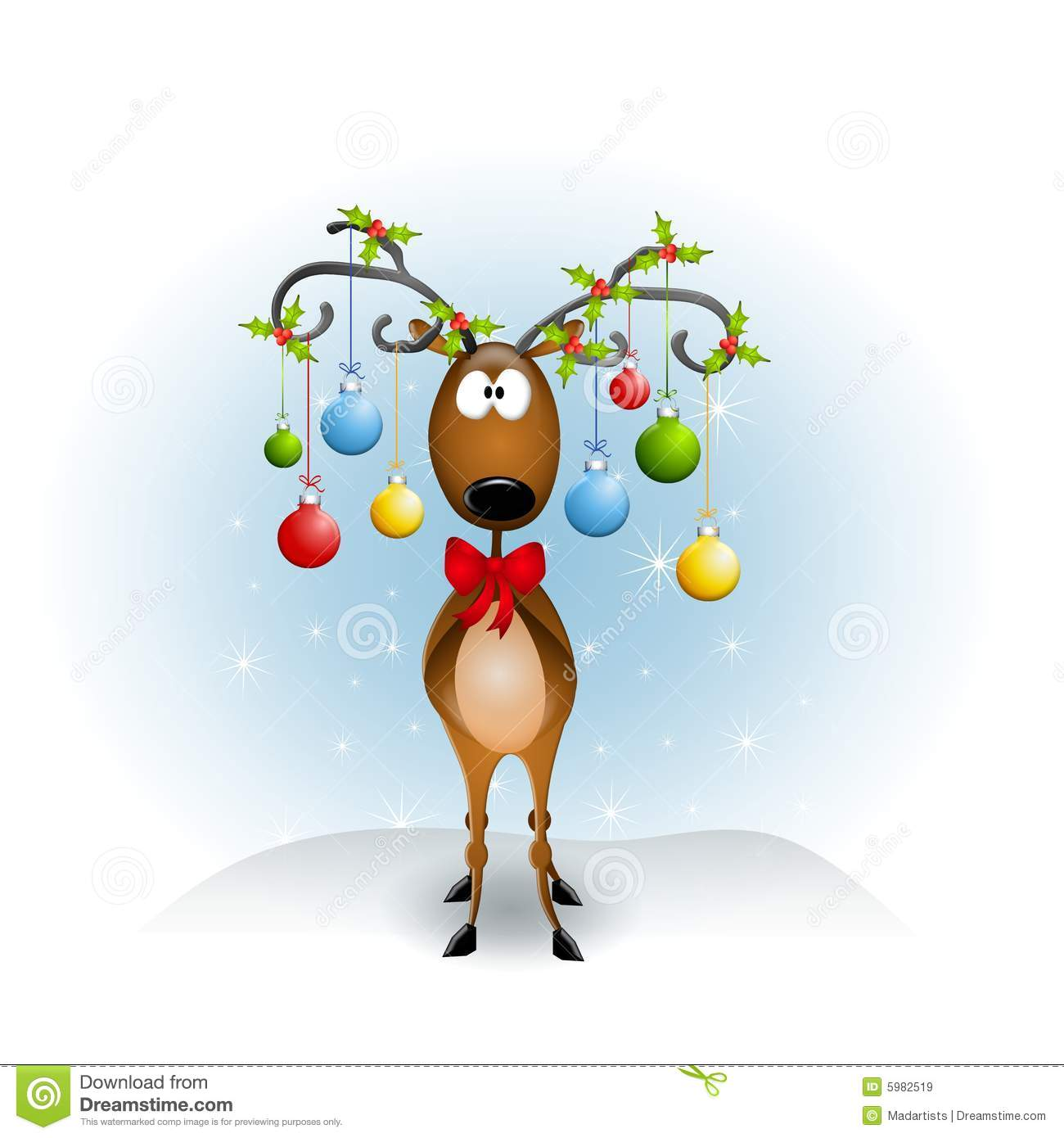 Clip Art Illustration Featuring A Reindeer With Antlers Decorated