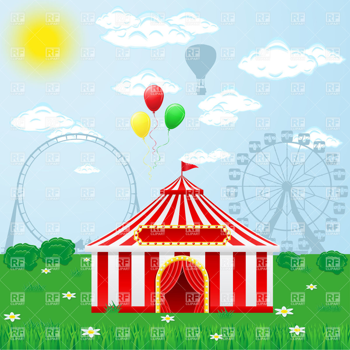 Clipart Catalog   Objects   Outdoor Circus Tent Download Royalty Free