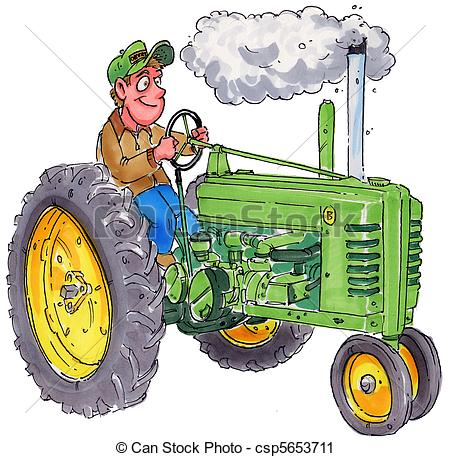 Clipart Of Tractor   A Farmer Sitting On An Old Tractor Csp5653711