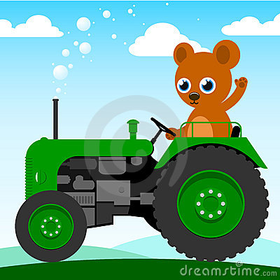 Cute Bear Driving An Old Tractor Royalty Free Stock Images   Image