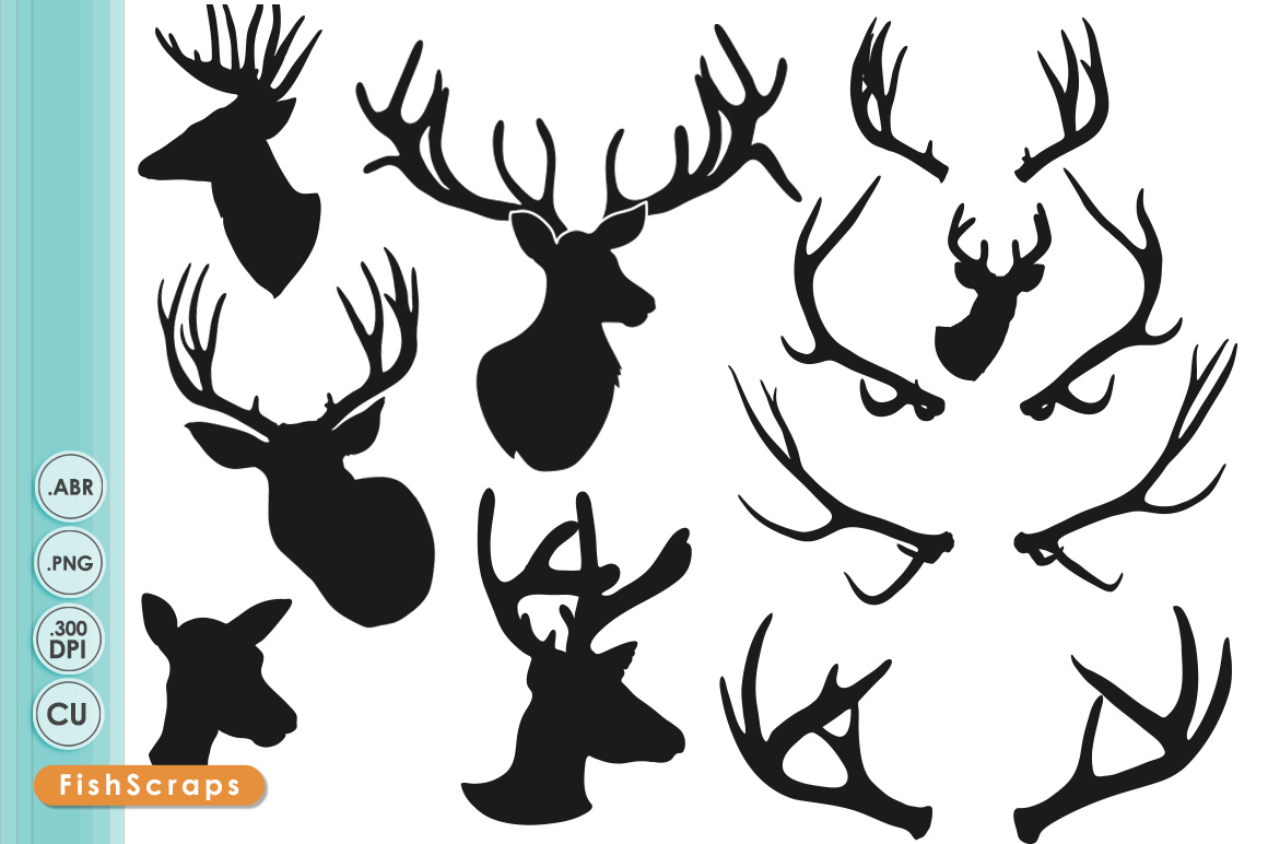 Deer Head Silhouettes   Clipart   Illustrations On Creative Market