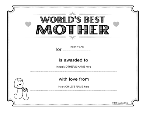 Education World  World S Best Mother Certificate Template