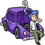 Frustrated Man Leaning Against His Broken Down Car Broken Down