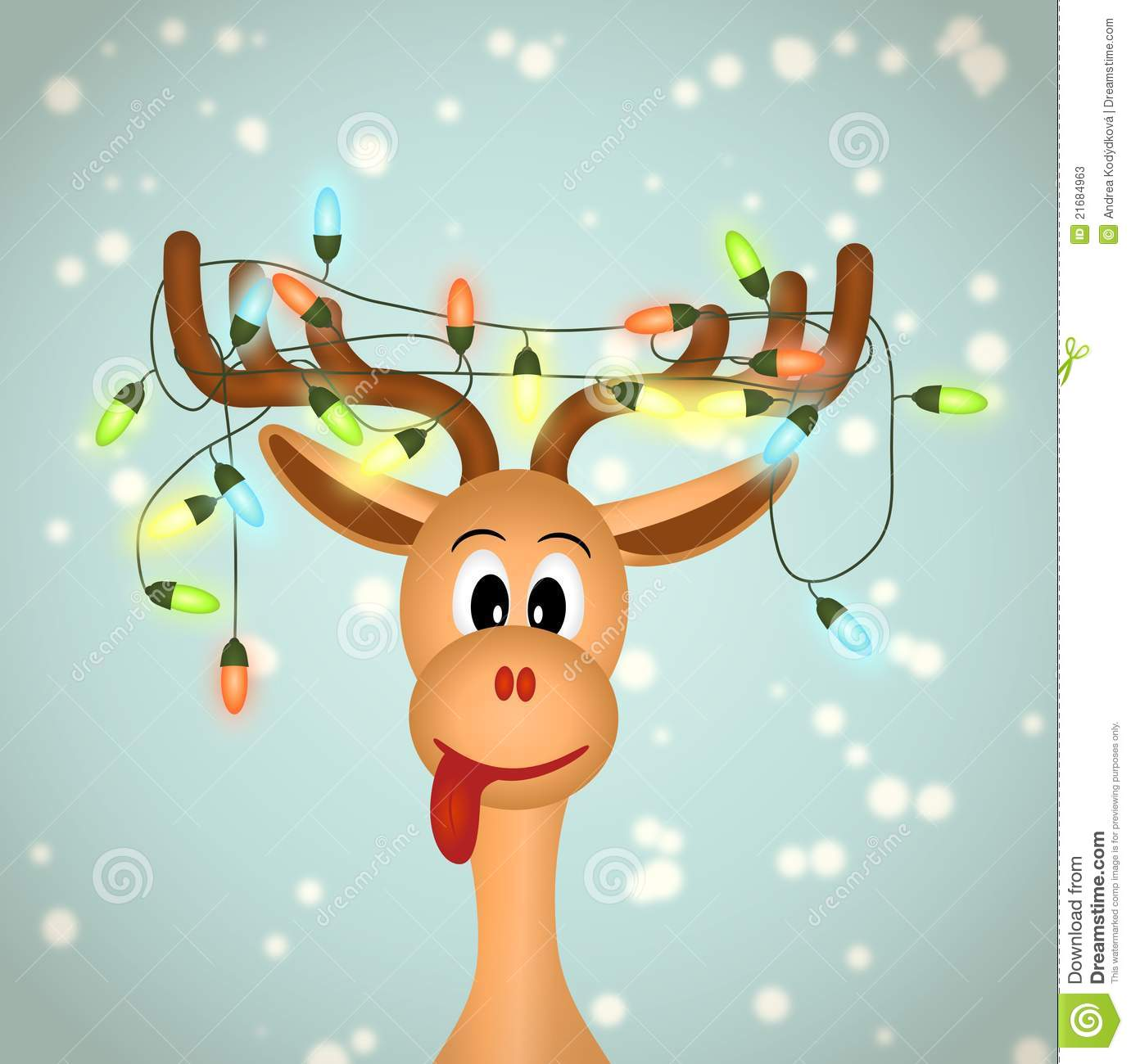 Funny Reindeer With Christmas Lights Tangled In Antlers   Illustration