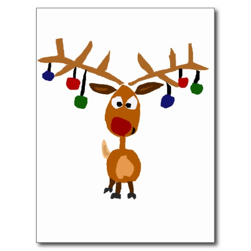 Funny Rudolph Red Nosed Reindeer Christmas Art Post Card