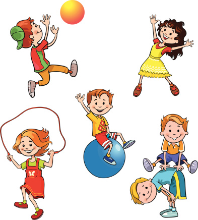 clip art of kids participating in playground activities