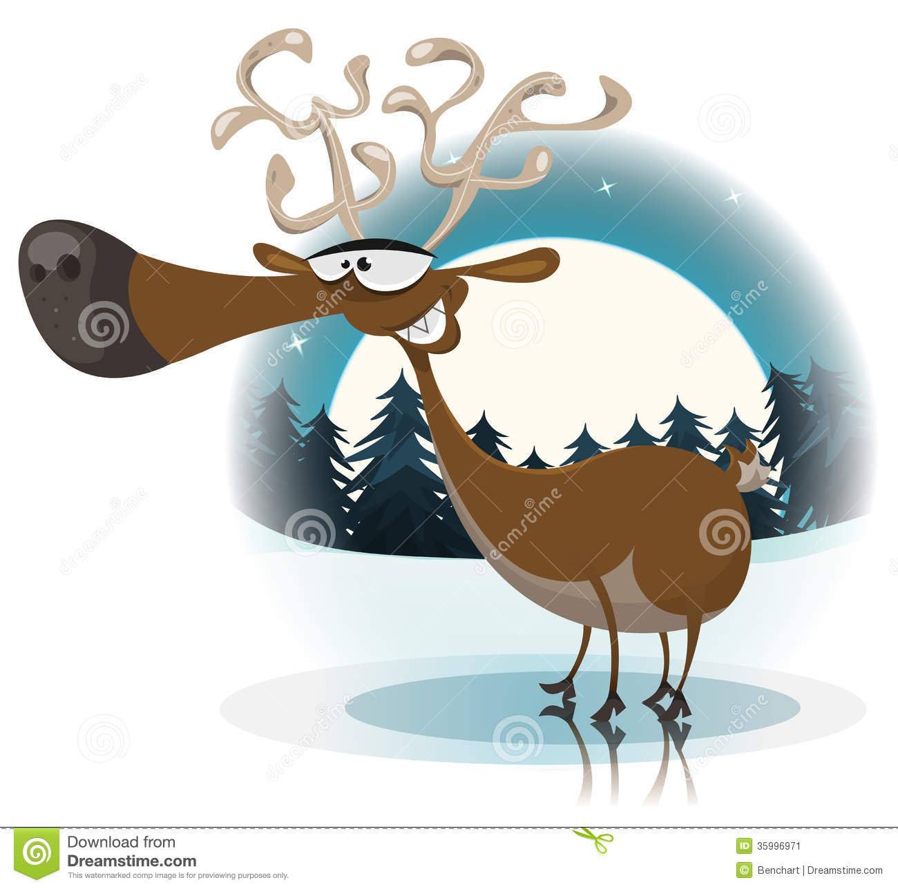 Illustration Of A Cartoon Funny Happy Christmas Reindeer Character On