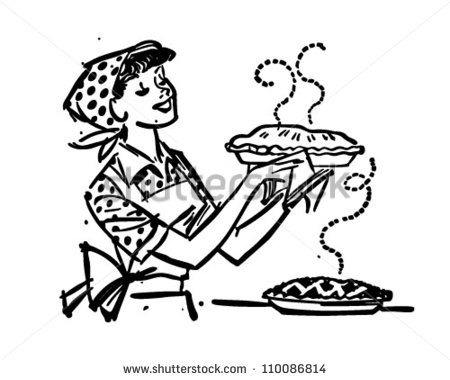 Mom With Fresh Baked Pies   Retro Clipart Illustration   110086814