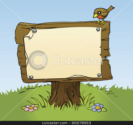 Rustic Wooden Sign Stock Vector Clipart An Illustration Of A Rustic