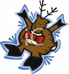 Silly Cartoon Reindeer   Royalty Free Clipart Picture