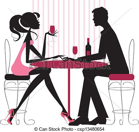 Vector   Couple Sharing Romantic Dinner   Stock Illustration Royalty