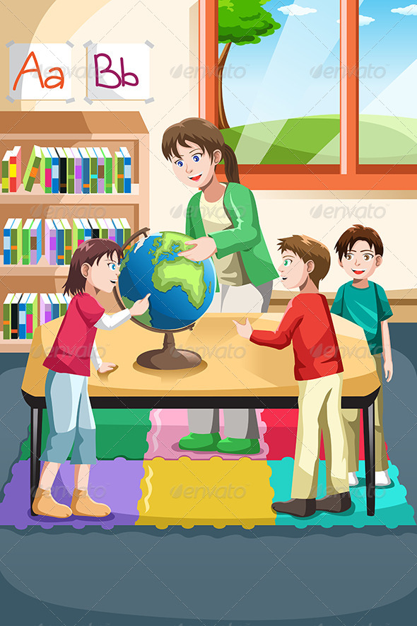 Vector Illustration Of Kindergarten Teacher And Students Looking At