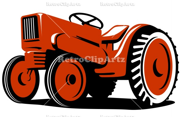 Vintage Tractor Cartoon : Red tractor clipart suggest